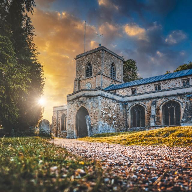 """""""Sunset on St Mary the Virgin Fen Ditton Church, Cambridge UK."""" stock image"""
