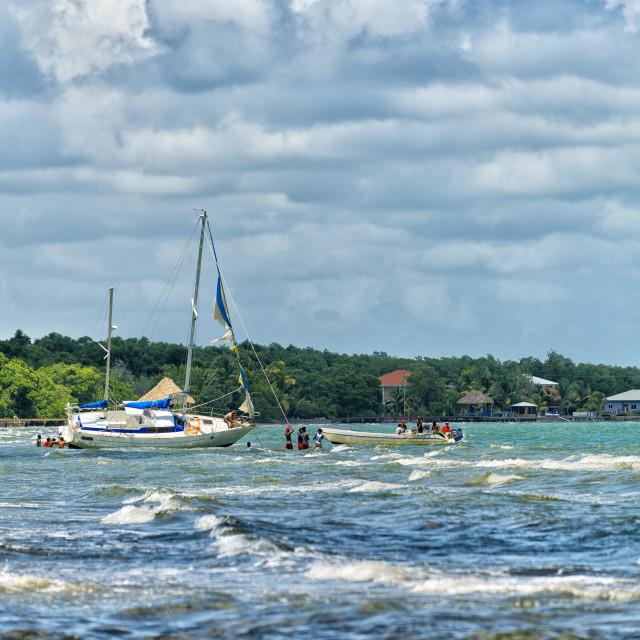 """Boat stuck on a sandbank"" stock image"