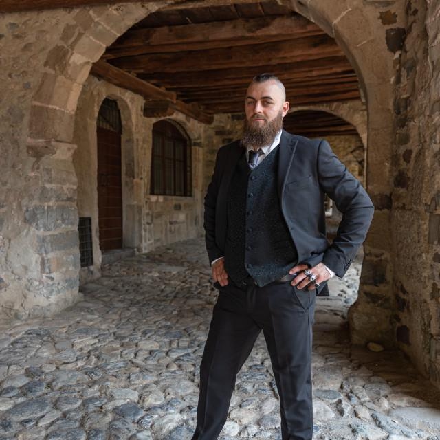 """Man in elegant clothes poses under the arcades"" stock image"
