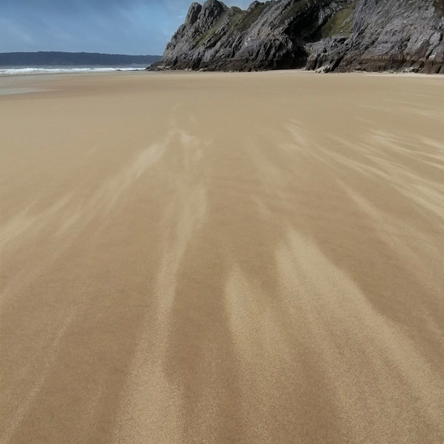 """Wind rush, Gower, Wales, UK."" stock image"