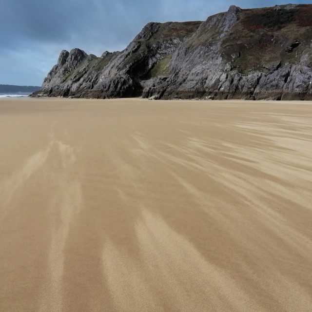 """Blustery day, Gower, Wales, UK"" stock image"
