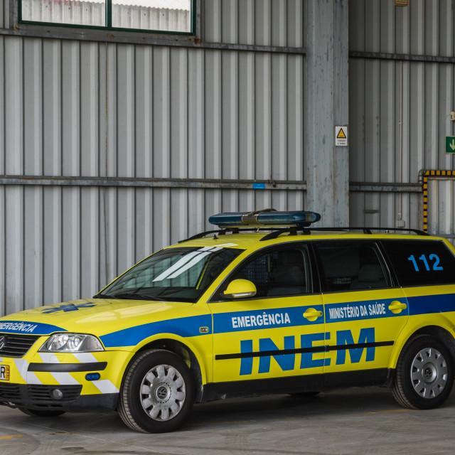 """Portuguese medical emergency and resuscitation vehicle"" stock image"