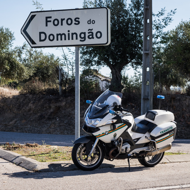 """BMW 1200 motorcycle of the Portuguese National Republican Guard"" stock image"