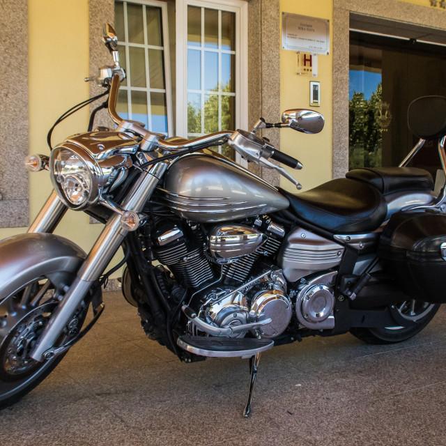 """""""Parked Yamaha VX1800 cruiser motorcycle"""" stock image"""