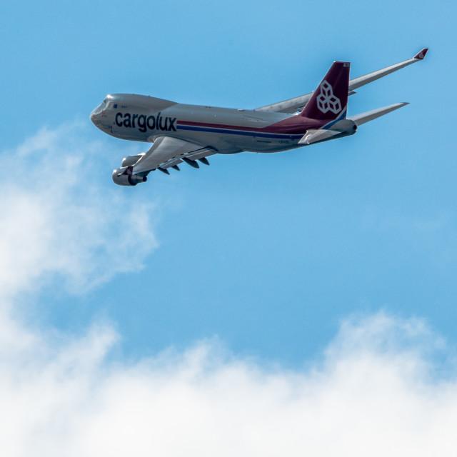 """Boeing 747 in flight"" stock image"
