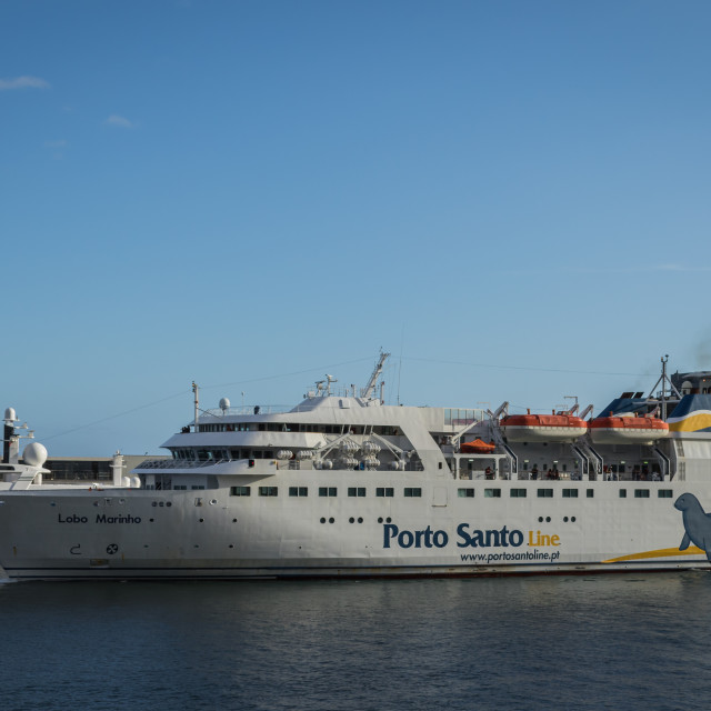 """The ferry Lobo Marinho departs Funchal for Porto Santo"" stock image"