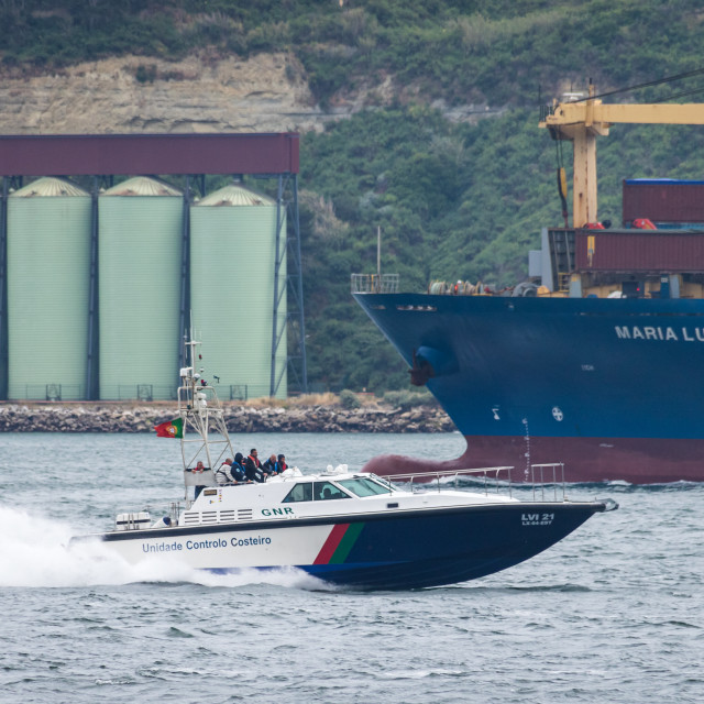 """Patrol boat of the Portuguese gendarmerie at high speed"" stock image"