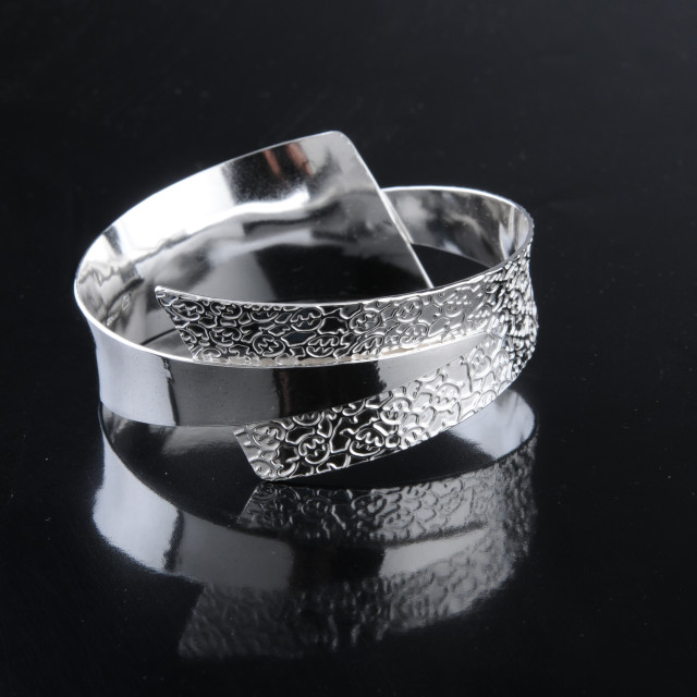 """""""Hand forged sterling silver Bracelet by Kevin O'Dwyer"""" stock image"""