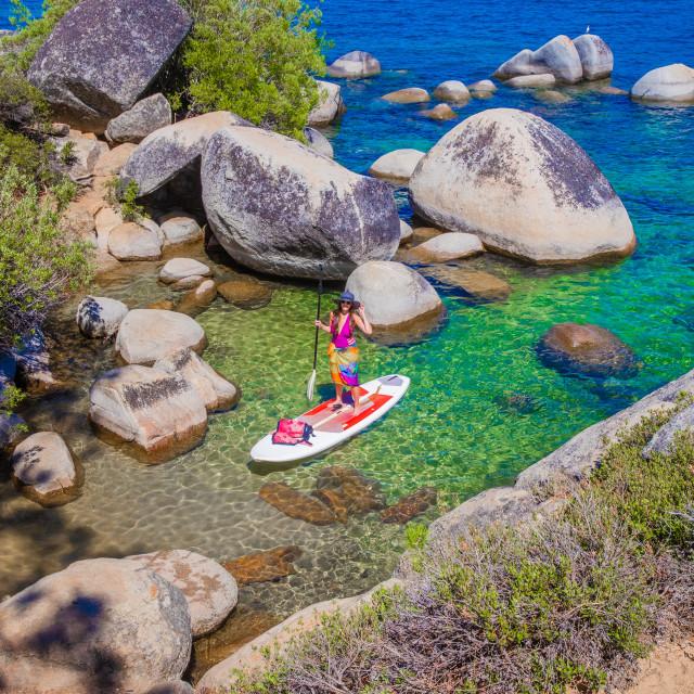 """Standup Paddleboard in Lake Tahoe"" stock image"