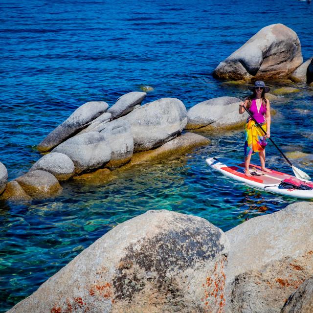 """Standup paddle boarding in Lake Tahoe"" stock image"