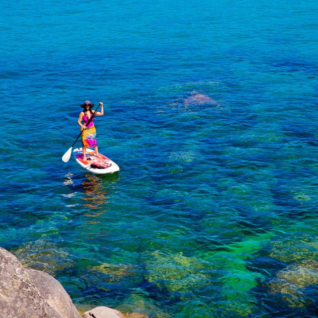 """""""Standup paddle boarding on Lake Tahoe"""" stock image"""