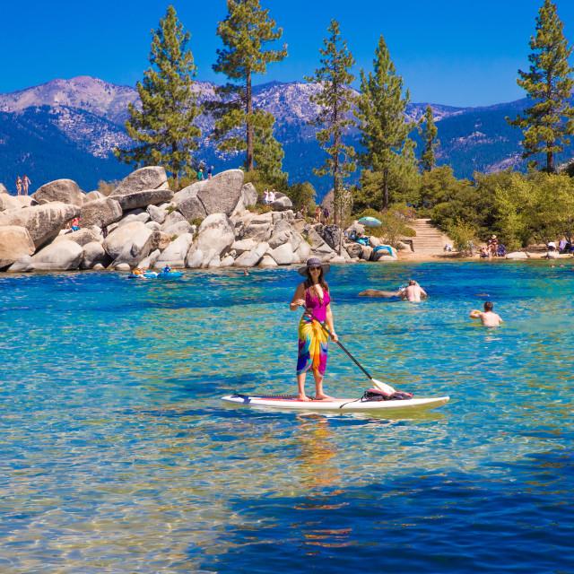 """Standup paddleboard Lake Tahoe"" stock image"