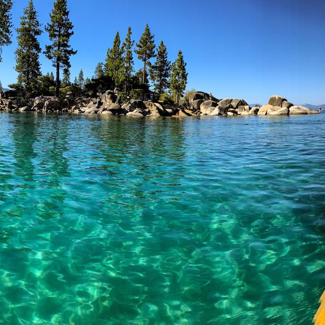 """""""Pano from kayak in Lake Tahoe"""" stock image"""