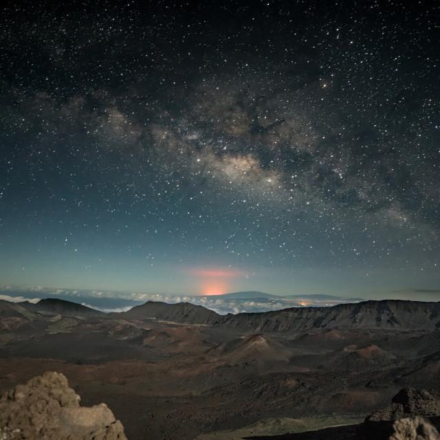 """Milkyway over lava glow"" stock image"
