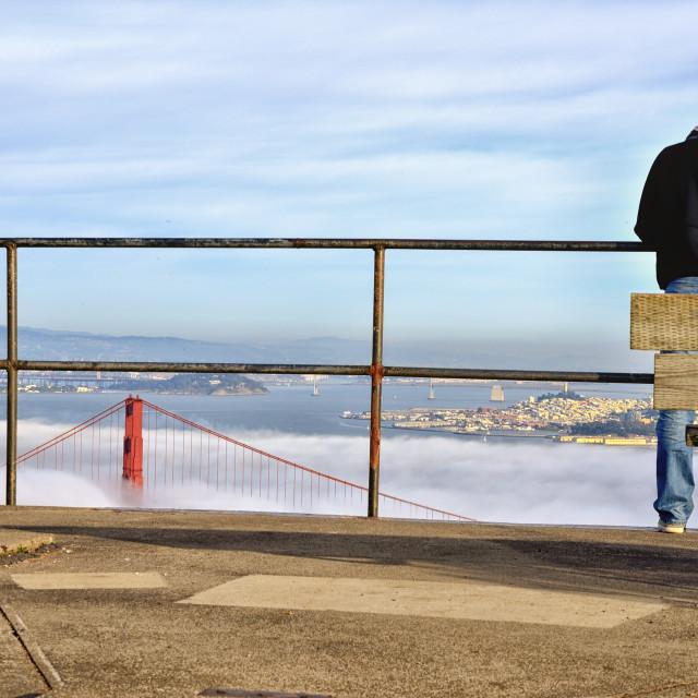 """Fog entering the bay"" stock image"