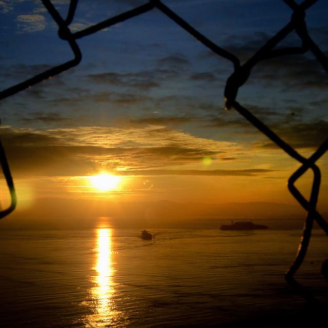 """Alcatraz at sunrise"" stock image"