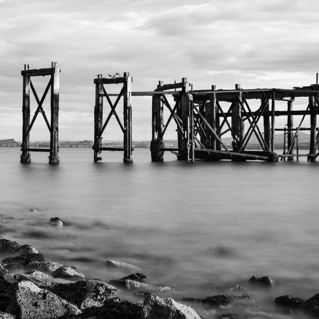 """The Old Pier, Hawkcraig Point, Aberdour (b&w)"" stock image"
