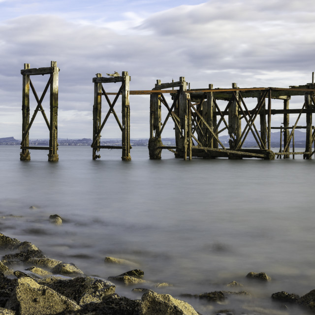 """The Old Pier, Hawkcraig Point, Aberdour (colour)"" stock image"