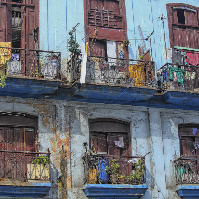 """""""Laundry hanging from old houses in Cuba"""" stock image"""