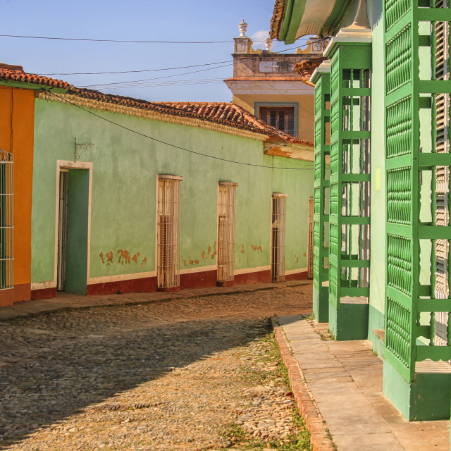 """Cobblestone street in Cuba"" stock image"