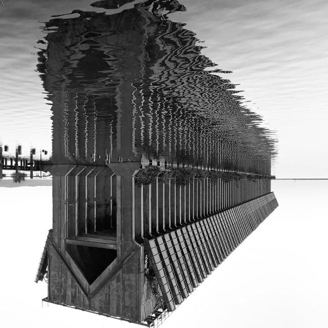"""Ore Dock Reflections #4"" stock image"