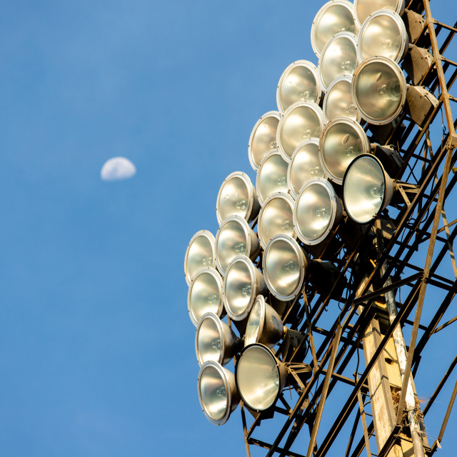 """Reflectors of the stadium"" stock image"