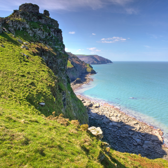 """Castle Rock, Lynton"" stock image"