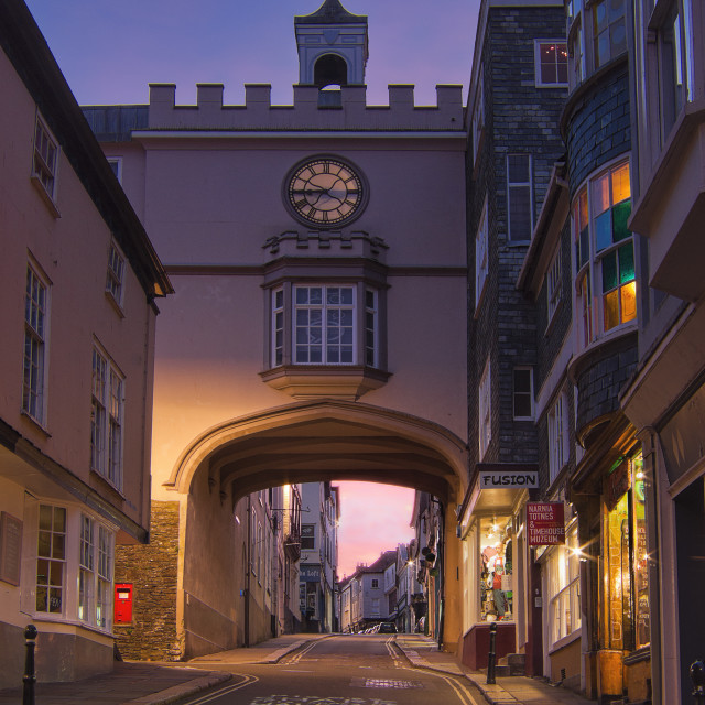 """Eastgate afterglow - Totnes"" stock image"