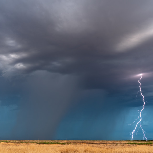 """Lightning bolt from a monsoon thunderstorm"" stock image"