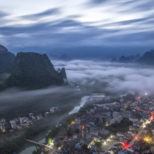 """Good morning from Yangshuo"" stock image"