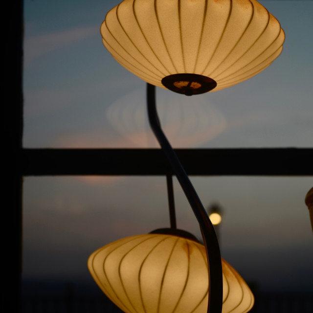 """""""Sunset with lamp"""" stock image"""