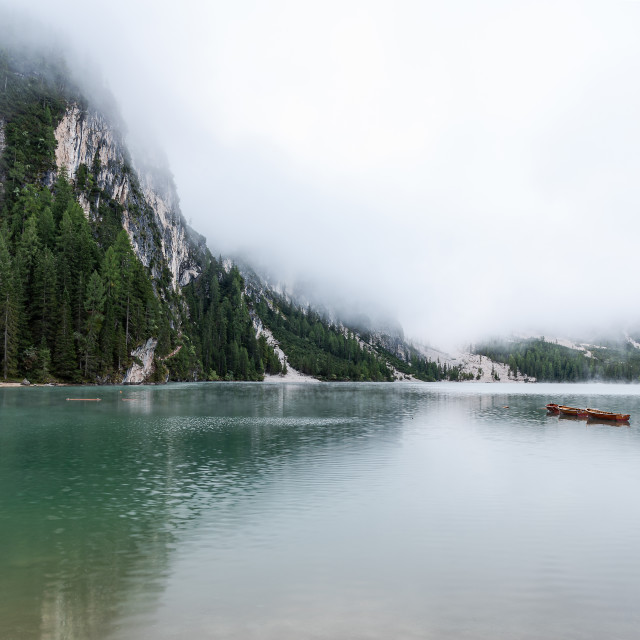 """Morning Mist on Lago Di Braies"" stock image"