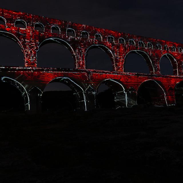 """The Pont du Gard at night / illumination"" stock image"