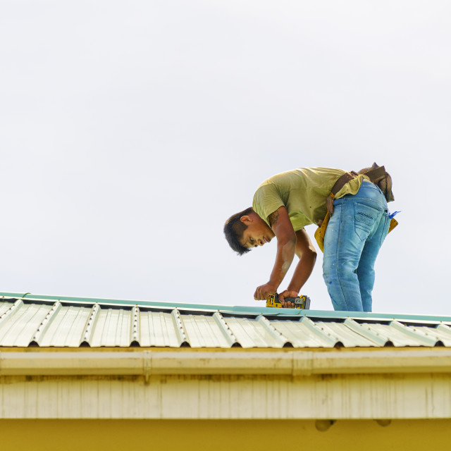 """""""Roofing work"""" stock image"""