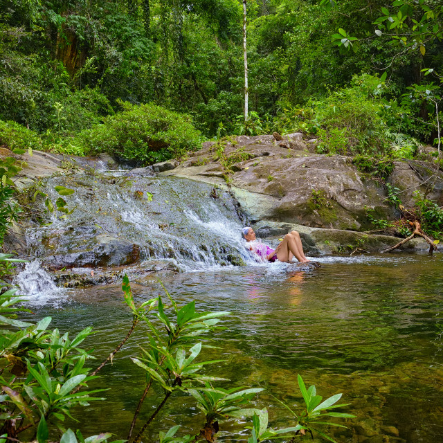 """Enjoying a natural pool in the rainforest"" stock image"