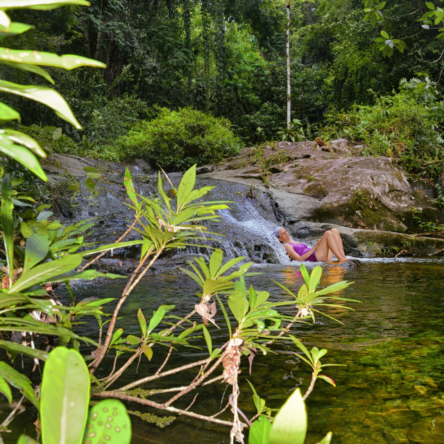 """Enjoying a natural pool"" stock image"