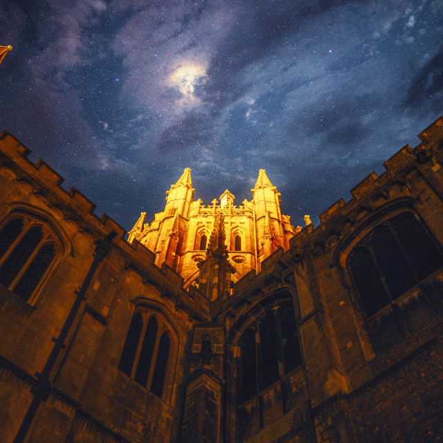 """""""Octagon Tower of Ely Cathedral by night."""" stock image"""