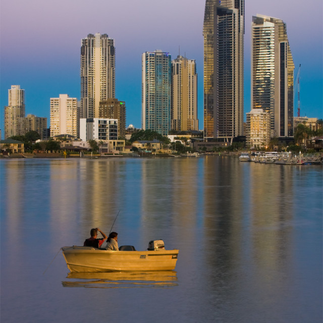 """Fishing on the Nerang river"" stock image"