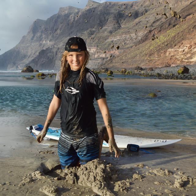 """Blond Surfer Boy on Beach"" stock image"