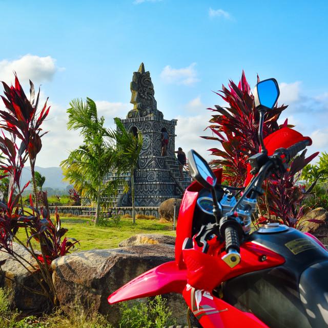 """""""Mock Mayan temple at the entrance to Mayan King"""" stock image"""
