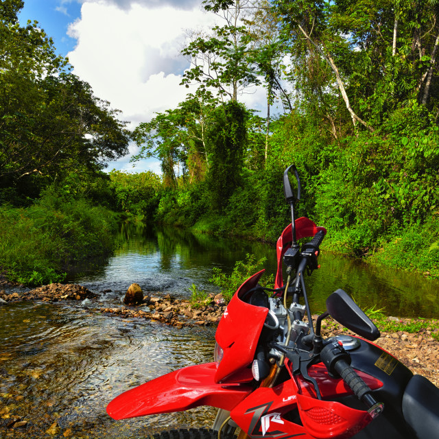 """Exploring Belize by motorcycle"" stock image"