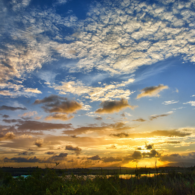 """Sunset sky in Belize"" stock image"