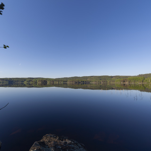 """""""Calm scenery at tranquil lake in Norway"""" stock image"""