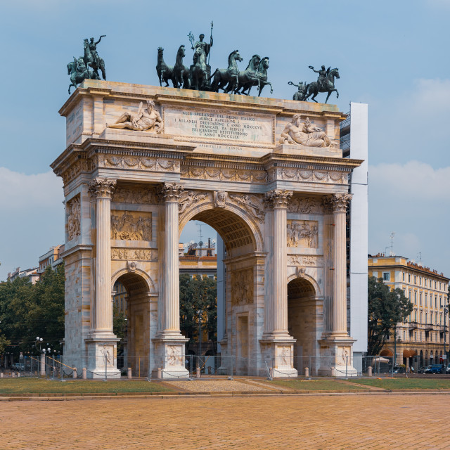 """""""Arco della Pace, historical monument of the city of Milan"""" stock image"""