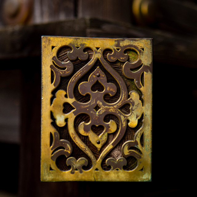 """Hearts and floral brass art in Japan"" stock image"