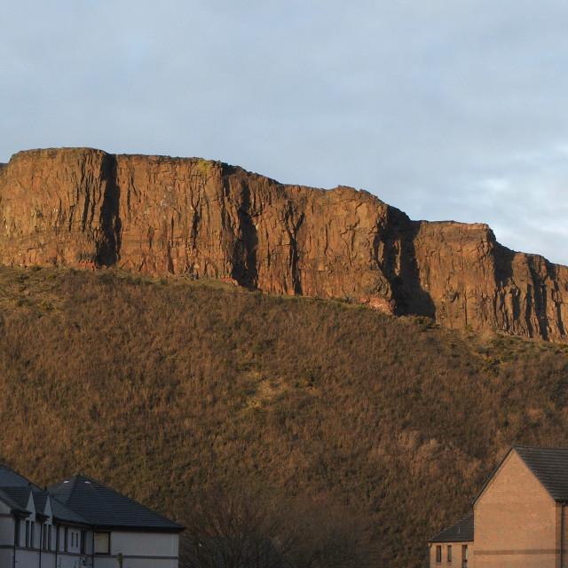"""Salisbury Crags, Edinburgh"" stock image"