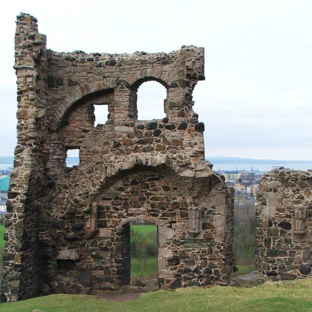 """St Anthony's Chapel, Edinburgh"" stock image"