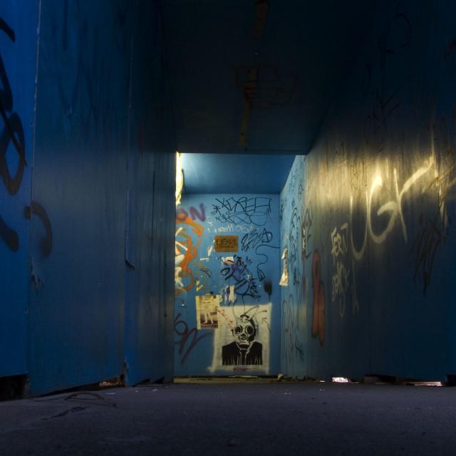 """Pedestrian Walkway with Graffiti"" stock image"