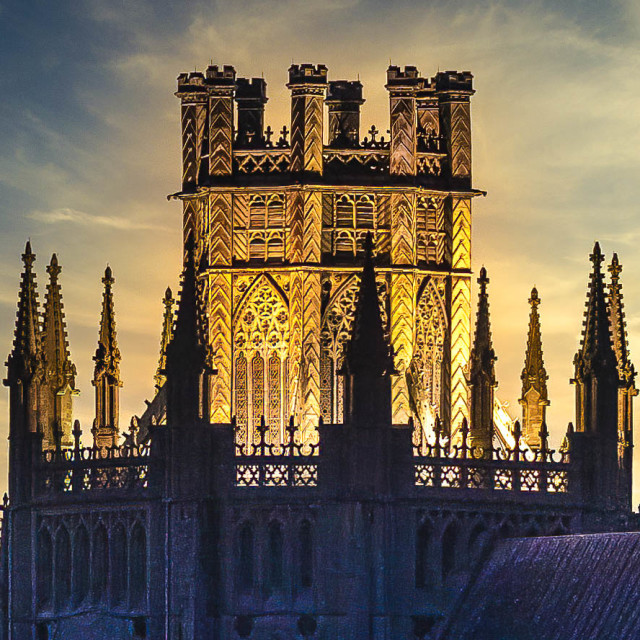"""""""Sunset on The Octagon Tower of Ely Cathedral, UK."""" stock image"""