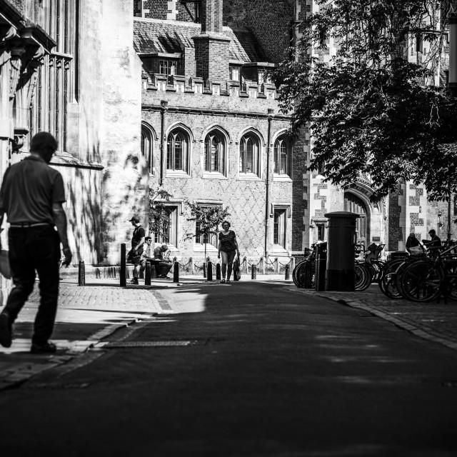 """Bridge Street in Black and White, Cambridge UK."" stock image"